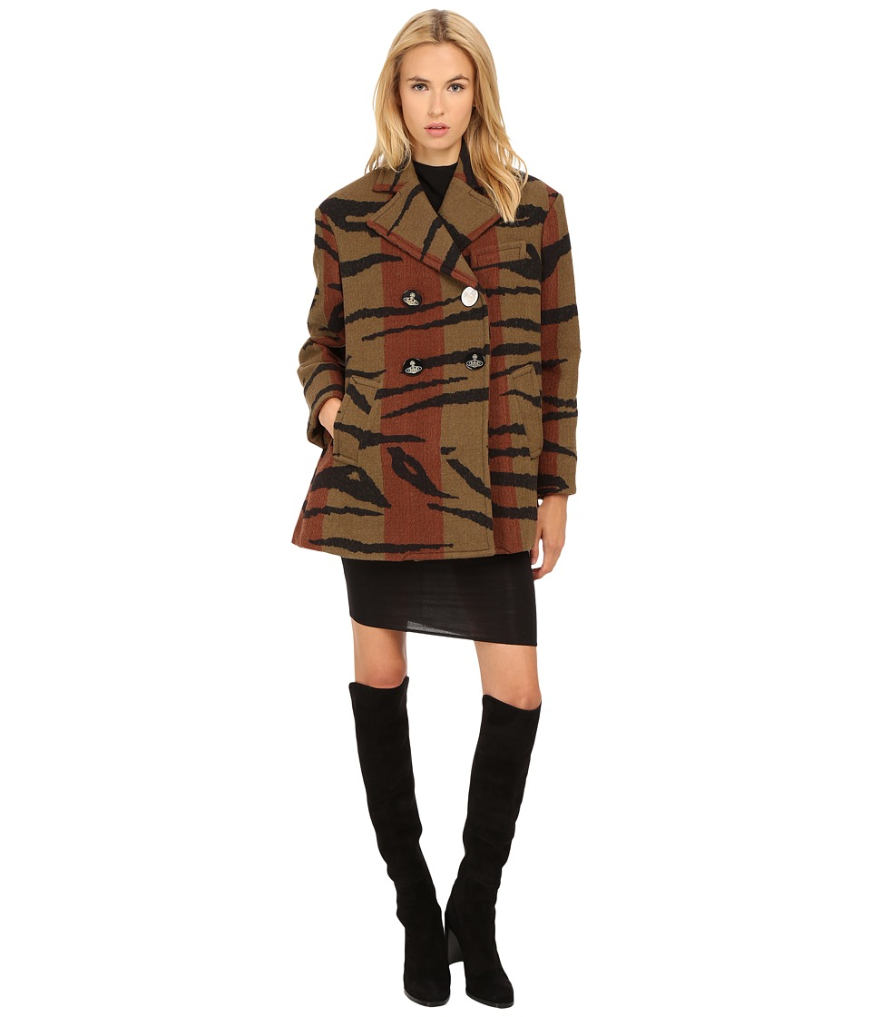 Vivienne Westwood - Tiger Stripe Blanket Princess Car Coat (Stripe Tiger) Women's Coat