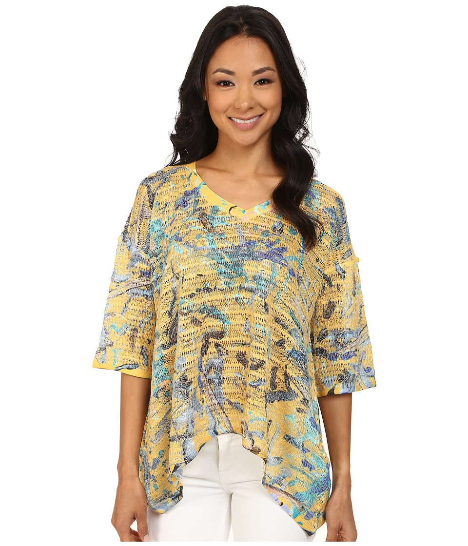 Nally & Millie - Paint Splatter Top (Yellow) Women's Blouse