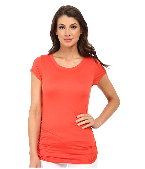 Nally & Millie - Ruched Cap Sleeve Top (Orange) Women's Clothing