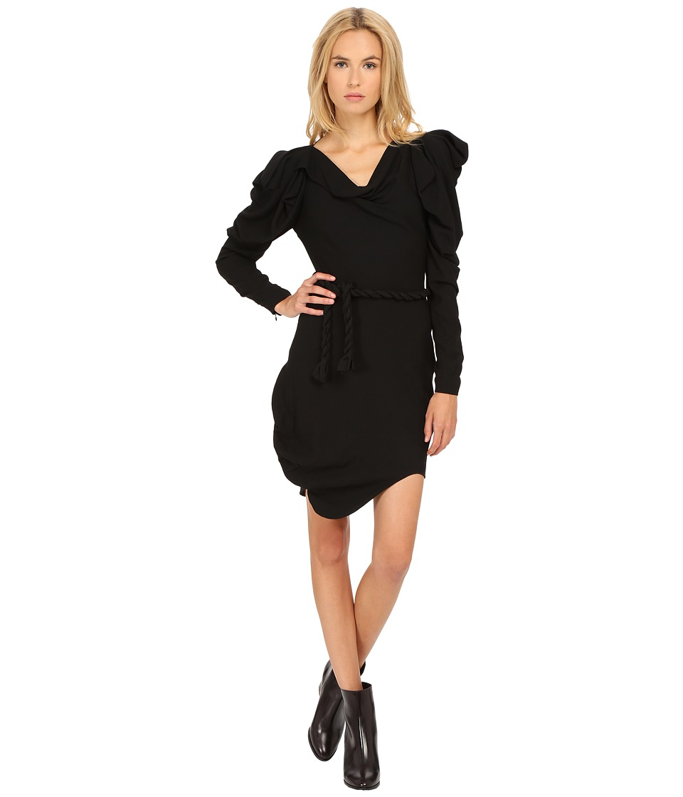 Vivienne Westwood Moss Crepe Long Sleeve Animal Dress (Black) Women