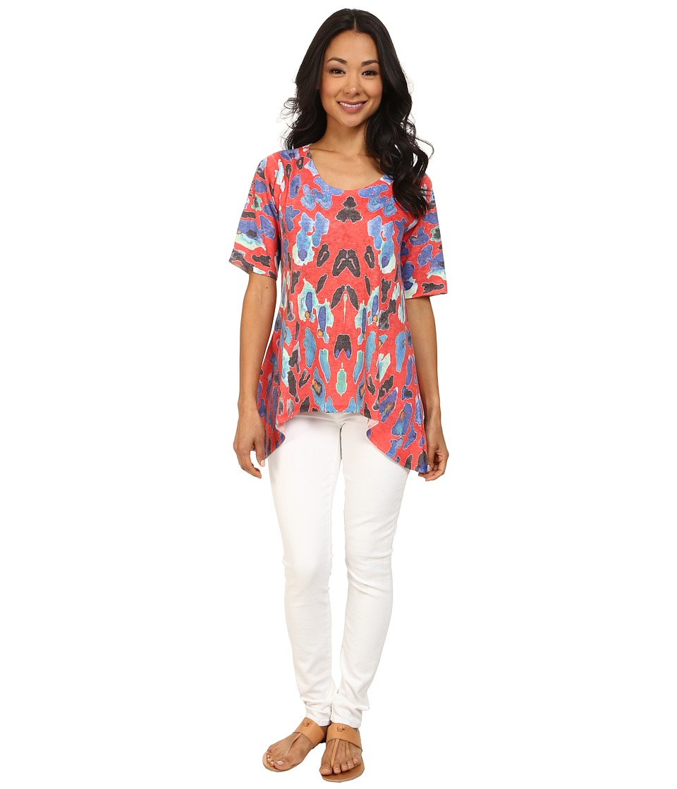 Nally & Millie - Red Animal Print Tunic (Red Multi) Women's Blouse