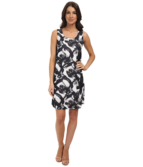 Nally & Millie - Brush Stroke Jacard Dress (Black/White) Women's Dress