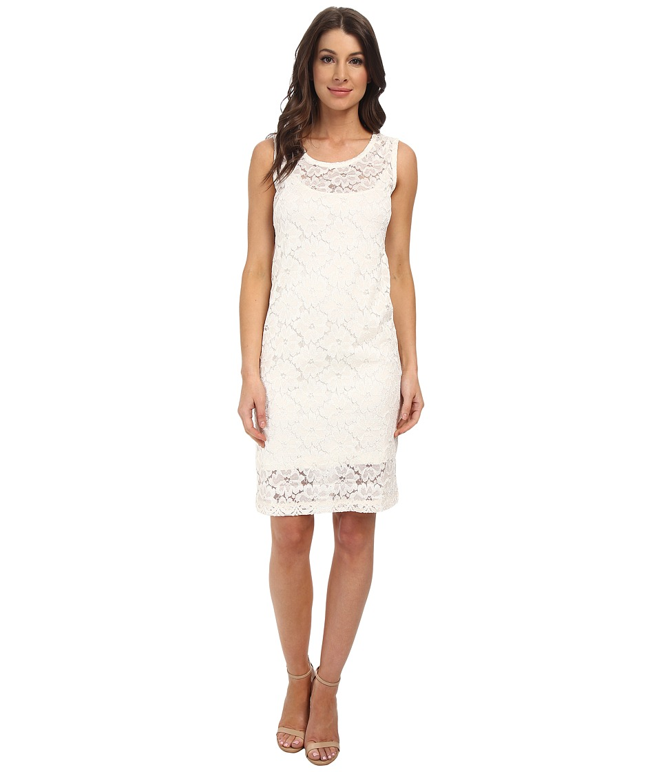 Nally & Millie - Sleeveless Lace Shift Dress with Layer (Cream) Women