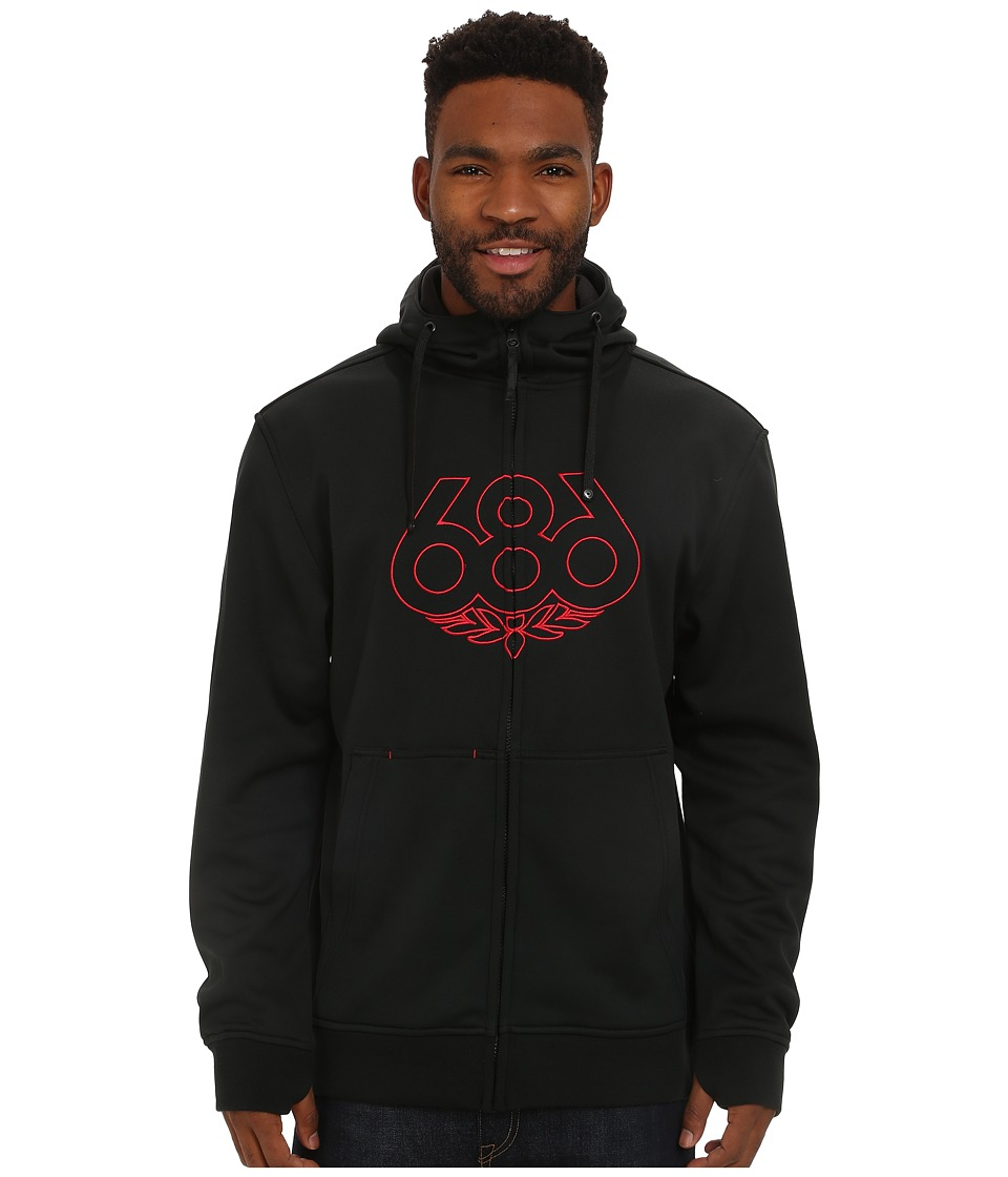 686 - Icon Bonded Zip Fleece Hoodie (Black) Men