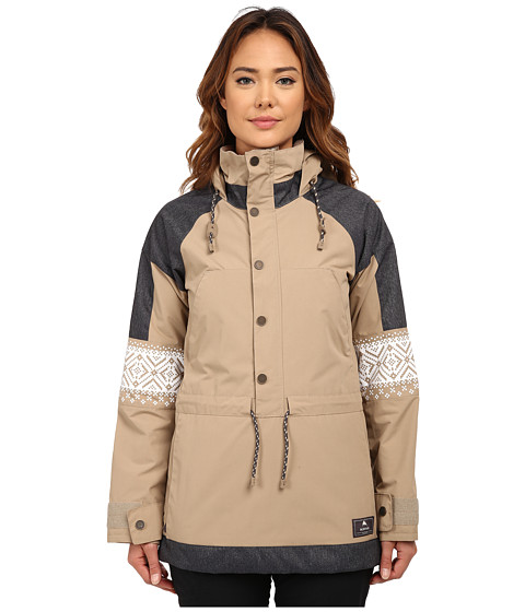 Burton - Cinder Anorak Jacket (Sandstruck/Denim/Fair Isle) Women's Coat
