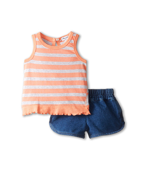 Splendid Littles - Classic Stripe Indigo Shorts Set (Infant) (Peach) Girl's Active Sets