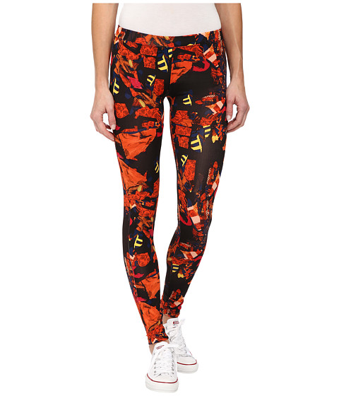 Converse - Global Fit Printed Knit Leggings (Black/Pink Print) Women