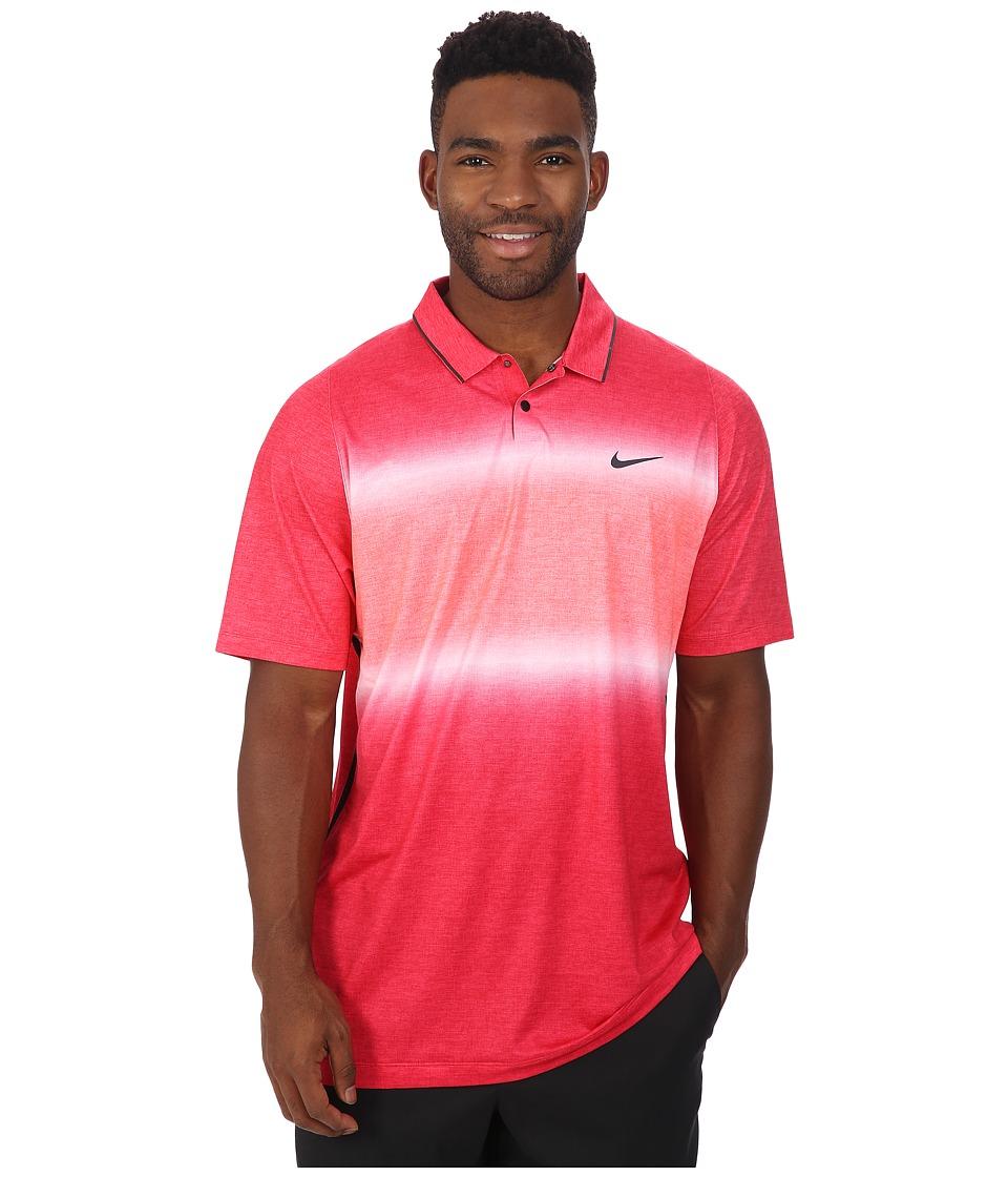 Nike Golf - Tiger Woods Velocity Glow Stripe Polo Shirt (University Red/Bright Crimson/Black/Reflective Black) Men