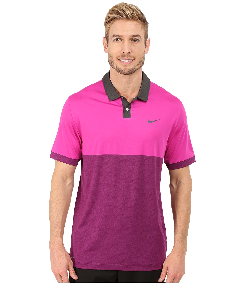 Nike Golf - Tiger Woods Velocity Jacquared Polo Shirt (Fuchsia Flash/Mulberry/Black/Reflective Black) Men's Short Sleeve Pullover
