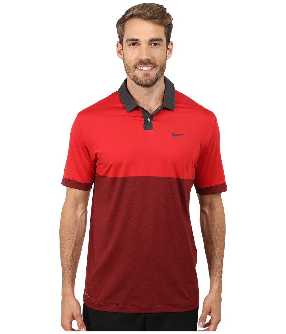 Nike Golf - Tiger Woods Velocity Jacquared Polo Shirt (Gym Red/Anthracite/Black/Reflective Black) Men's Short Sleeve Pullover