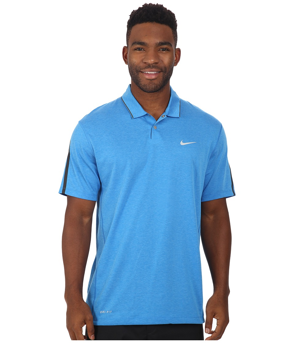 Nike Golf - Tiger Woods Kimono Heather Mesh Polo Shirt (Photo Blue/Heather/Photo Blue/Reflective Silver) Men