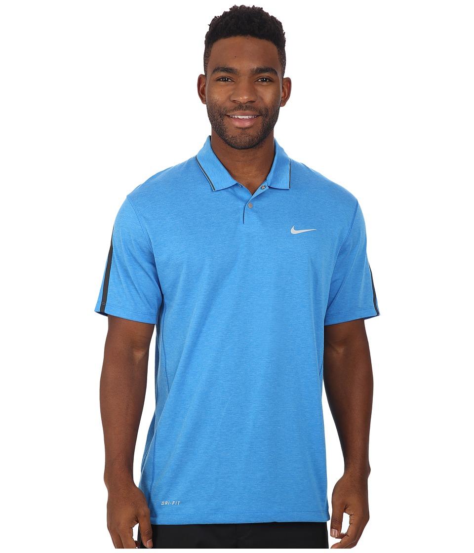 Nike Golf - Tiger Woods Kimono Heather Mesh Polo Shirt (Photo Blue/Heather/Photo Blue/Reflective Silver) Men's Short Sleeve Pullover