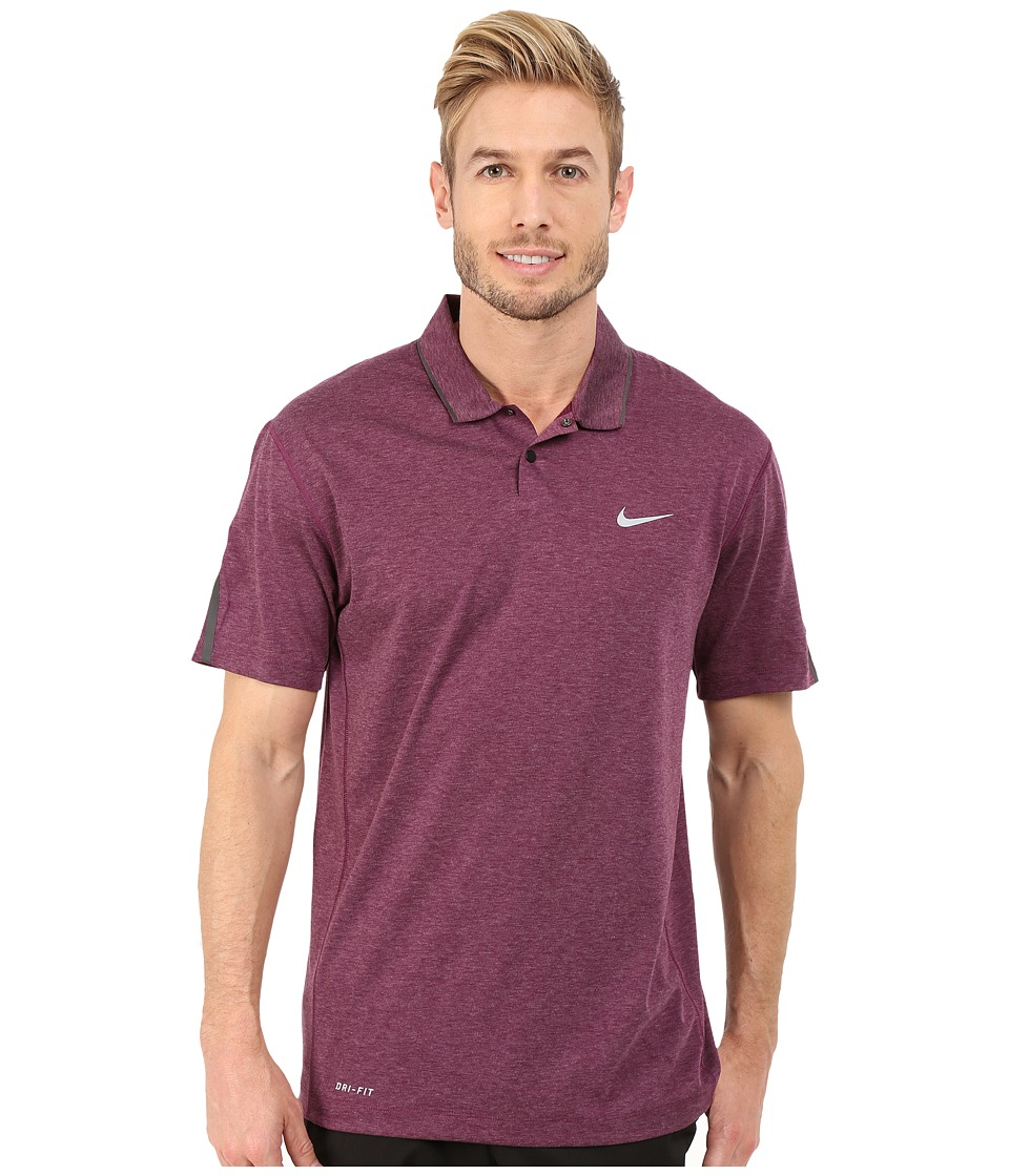 Nike Golf - Tiger Woods Kimono Heather Mesh Polo Shirt (Mulberry/Heather/Black/Reflective Silver) Men's Short Sleeve Pullover