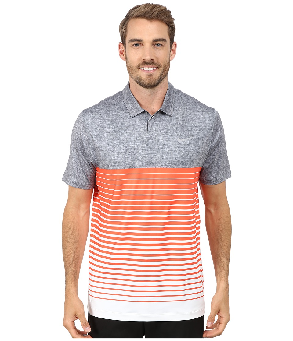Nike Golf - Bold Stripe Polo (Dark Grey/Electro Orange/Wolf Grey) Men