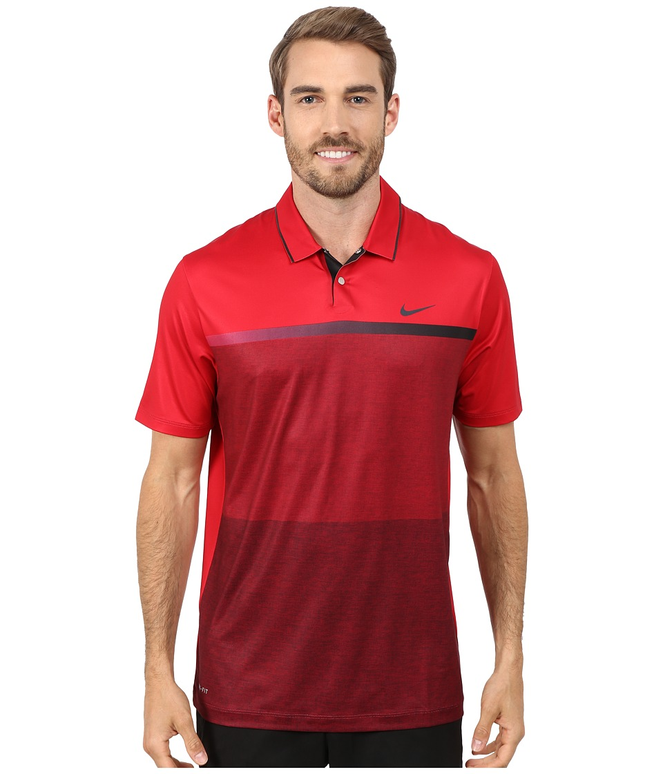 Nike Golf - Tiger Woods Mobility Print Polo Shirt (Gym Red/Black/Black/Reflective Black) Men
