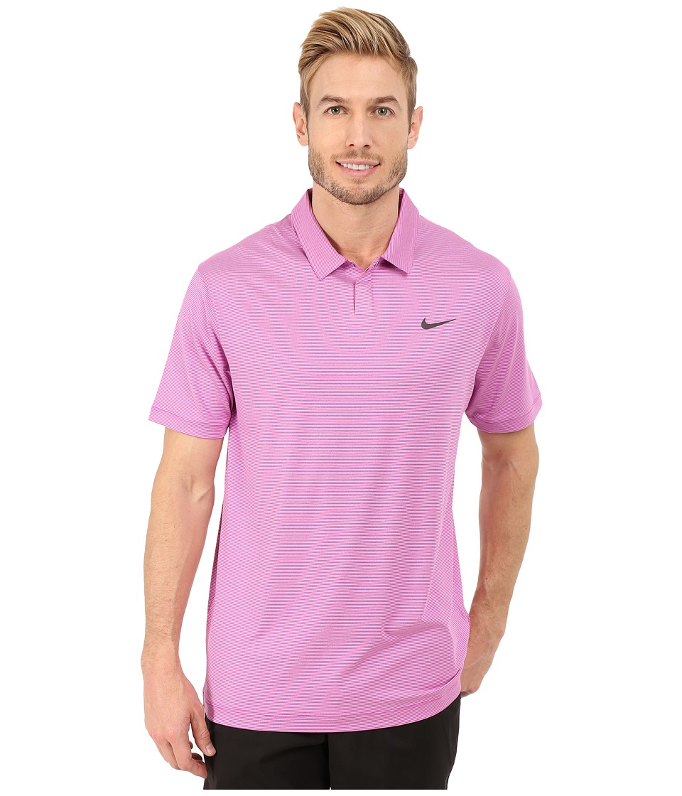 Nike Golf - Control Stripe Polo (Fuchsia Flash/Anthracite) Men's Short Sleeve Knit