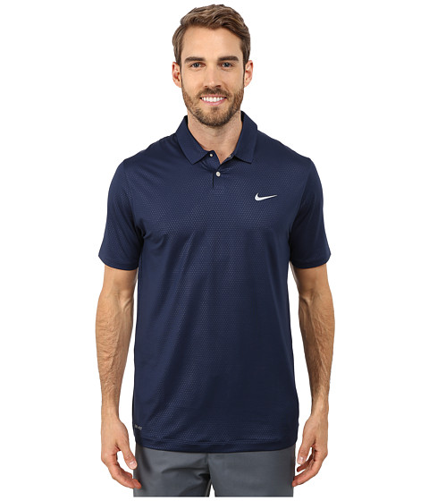 Nike Golf - Tiger Woods Mobility Camo Embossed Polo Shirt (Midnigth Navy/Deep Royal Blue/Wolf Grey) Men's Short Sleeve Pullover