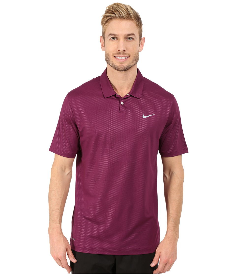 Nike Golf - Tiger Woods Mobility Camo Embossed Polo Shirt (Mulberry/Black/Wolf Grey) Men's Short Sleeve Pullover
