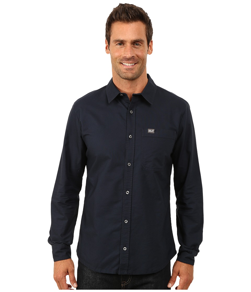 Jack Wolfskin - Eagle OC Long Sleeve Shirt (Night Blue) Men's Long Sleeve Button Up