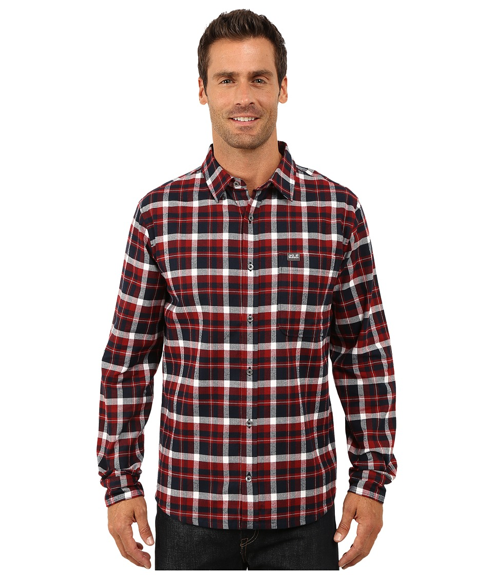 Jack Wolfskin - West Brook OC Long Sleeve Shirt (Night Blue Checks) Men's Long Sleeve Button Up