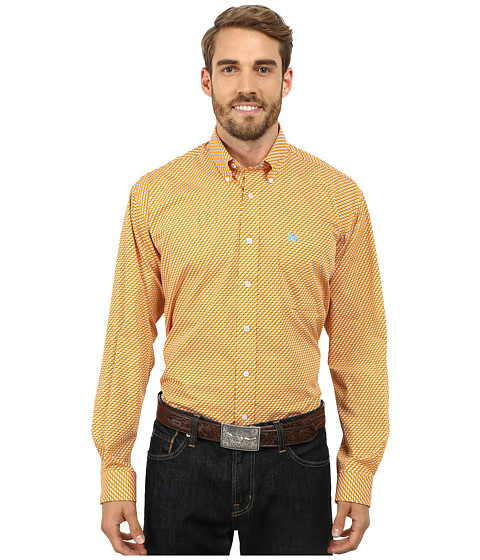 Cinch - Long Sleeve Plain Weave Print Shirt (Orange) Men's Long Sleeve Button Up
