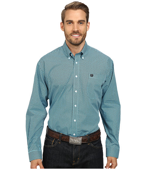 Cinch - Long Sleeve Plain Weave Print Shirt (Blue) Men's Long Sleeve Button Up