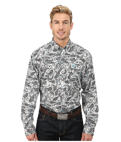 Cinch - Long Sleeve Plain Weave Print Shirt (Grey) Men