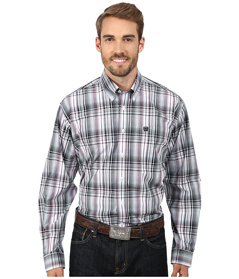 Cinch - Long Sleeve Plain Weave Print Shirt (White) Men's Long Sleeve Button Up