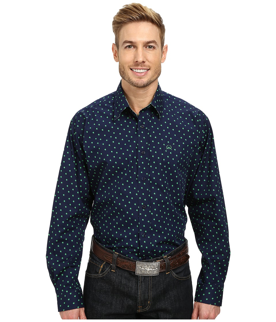 Cinch - Long Sleeve Plain Weave Print Shirt (Navy) Men's Long Sleeve Button Up