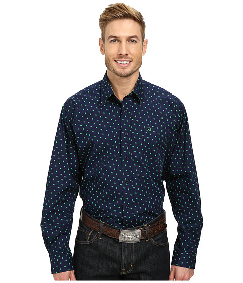 Cinch - Long Sleeve Plain Weave Print Shirt (Navy) Men