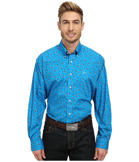 Cinch - Long Sleeve Plain Weave Print Shirt (Blue3) Men
