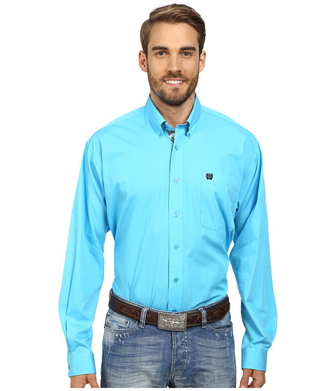 Cinch - Long Sleeve Plain Weave Solid Shirt (Blue) Men's Long Sleeve Button Up