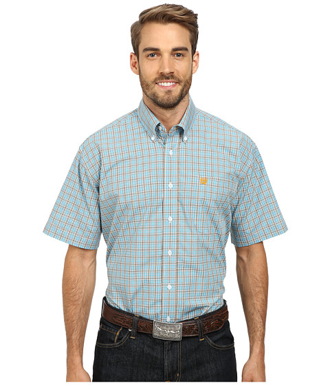 Cinch - Short Sleeve Plain Weave Plaid Shirt (Blue) Men