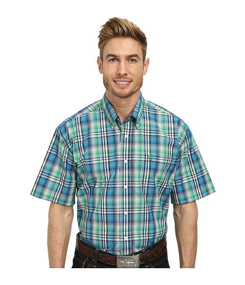 Cinch - Short Sleeve Plain Weave Plaid Shirt (White) Men's Short Sleeve Button Up