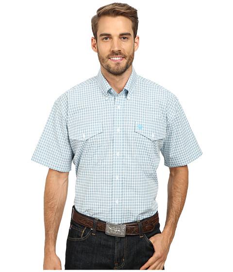 Cinch - Short Sleeve Plain Weave Plaid Double Pocket Shirt (White) Men's Short Sleeve Button Up