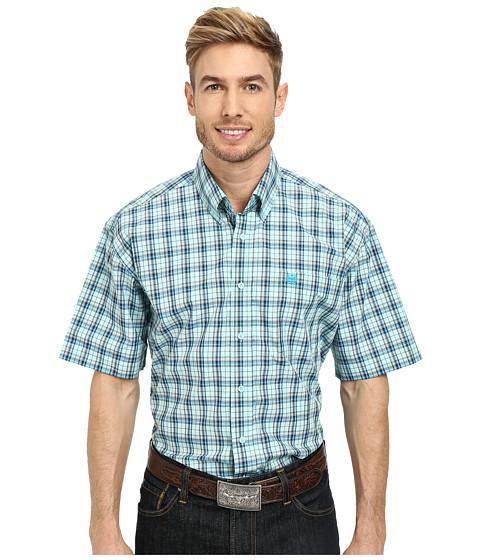 Cinch - Short Sleeve Plain Weave Plaid Shirt (Light Blue) Men