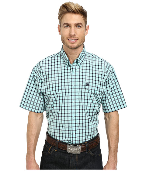 Cinch - Short Sleeve Plain Weave Plaid Double Pocket Shirt (Light Blue) Men's Short Sleeve Button Up