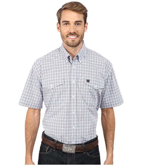 Cinch - Short Sleeve Plain Weave Plaid Double Pocket Shirt (Lilac) Men