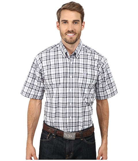 Cinch - Short Sleeve Plain Weave Plaid Shirt (White3) Men's Short Sleeve Button Up