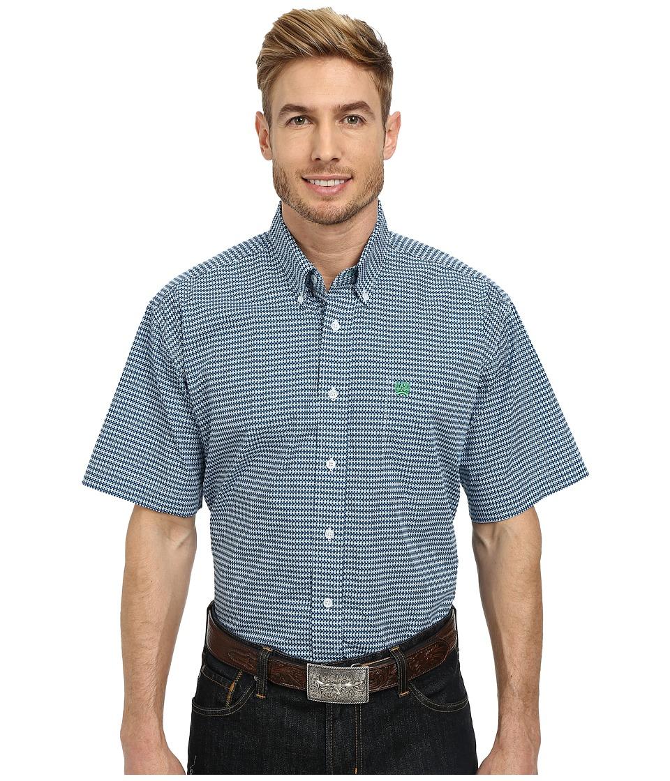 Cinch - Short Sleeve Plain Weave Print Shirt (White) Men