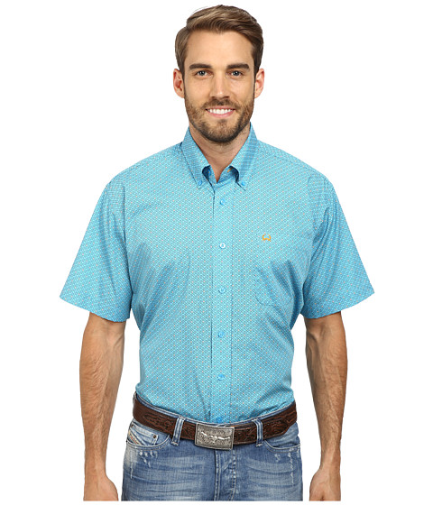 Cinch - Short Sleeve Plain Weave Print Shirt (Blue) Men