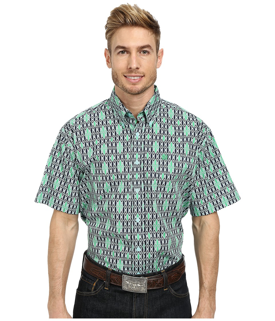 Cinch - Short Sleeve Plain Weave Print Shirt (Light Blue) Men's Short Sleeve Button Up