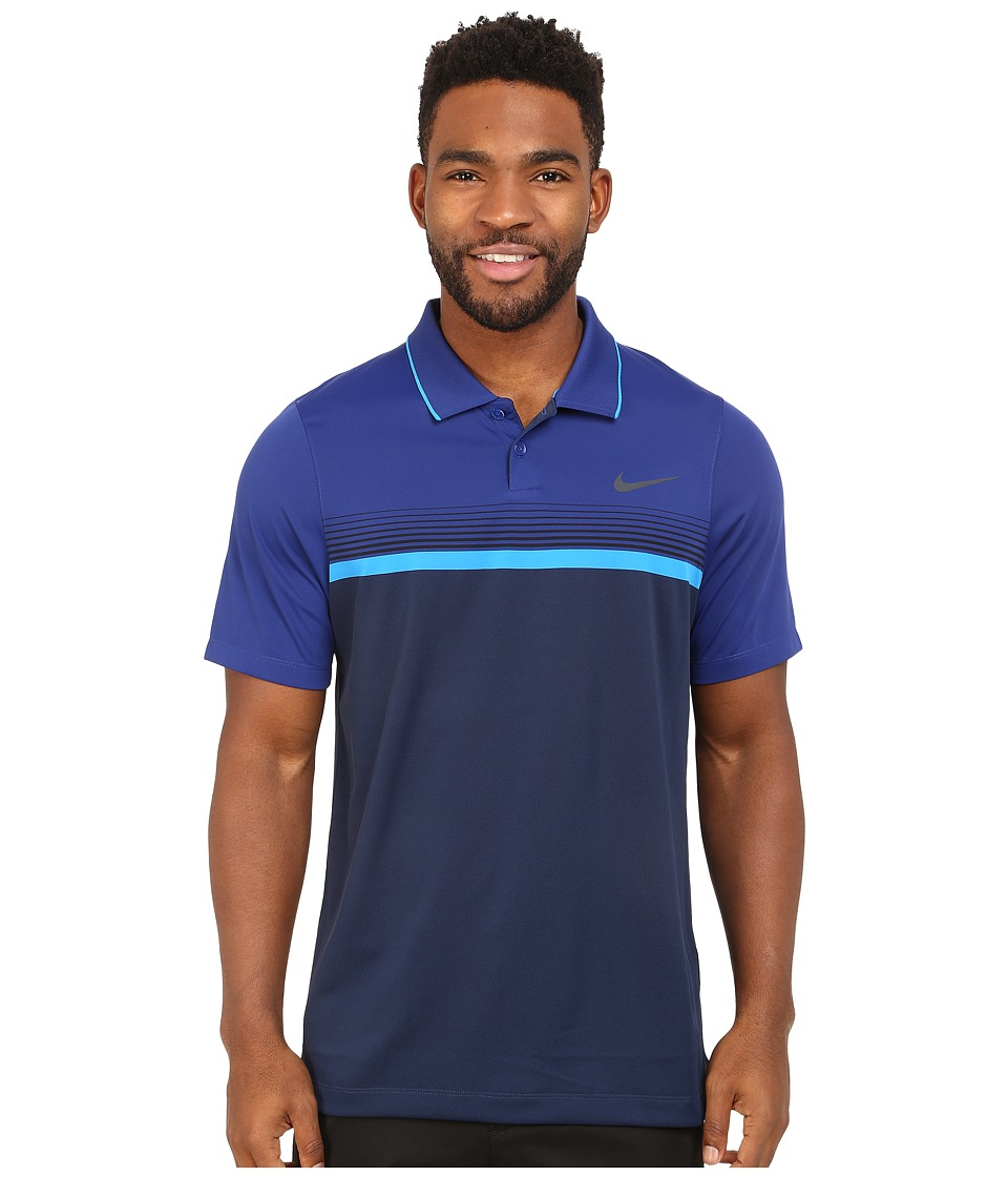 Nike Golf - Momentum Stripe Polo (Midnight Navy/Deep Royal Blue/Photo Blue/Reflect Black) Men's Clothing
