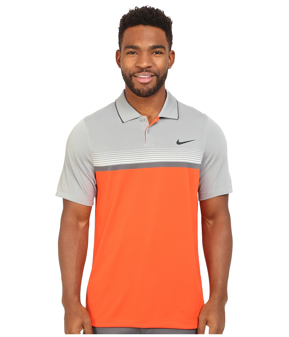 Nike Golf - Momentum Stripe Polo (Electro Orange/Wolf Grey/Dark Grey/Reflect Black) Men's Clothing