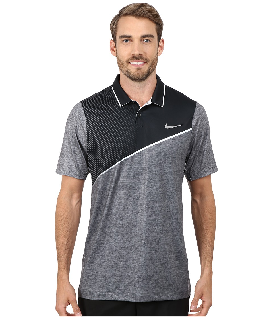 Nike Golf - Momentum 26 Polo (Black/White/Silver) Men's Clothing