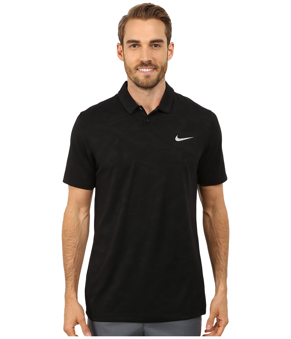 Nike Golf - Mobility Camo Jacquard Polo (Black/Pink Powder/Wolf Grey) Men's Clothing