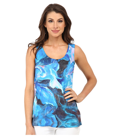 Nally & Millie - Blue Floral Tank Top (Blue Multi) Women's Sleeveless