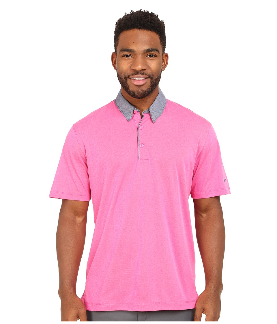 Nike Golf - Transition Chambray Polo (Pink Powder/Vivid Pink/Anthracite) Men