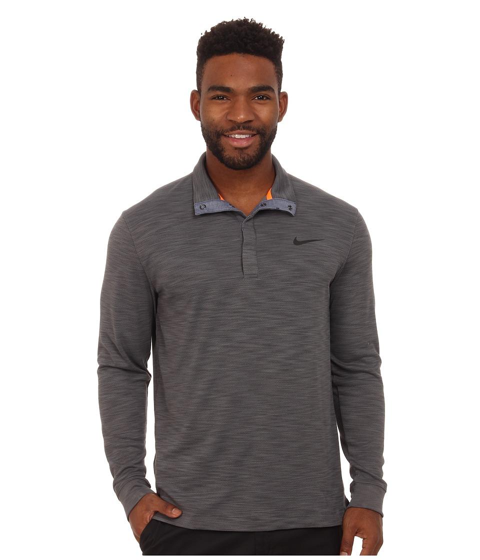 Nike Golf - Long Sleeve Transition Chambray (Dark Grey Heather/Total Orange/Anthracite) Men's Clothing