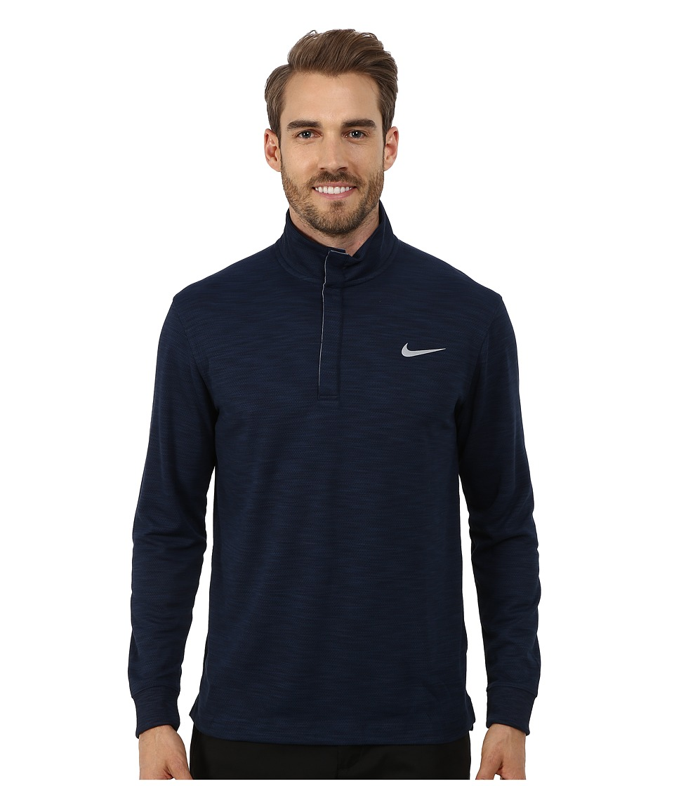 Nike Golf - Long Sleeve Transition Chambray (Obsidian Heather/Photo Blue/Wolf Grey) Men's Clothing